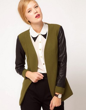 Image 1 ofASOS Blazer With Leather Look Sleeves