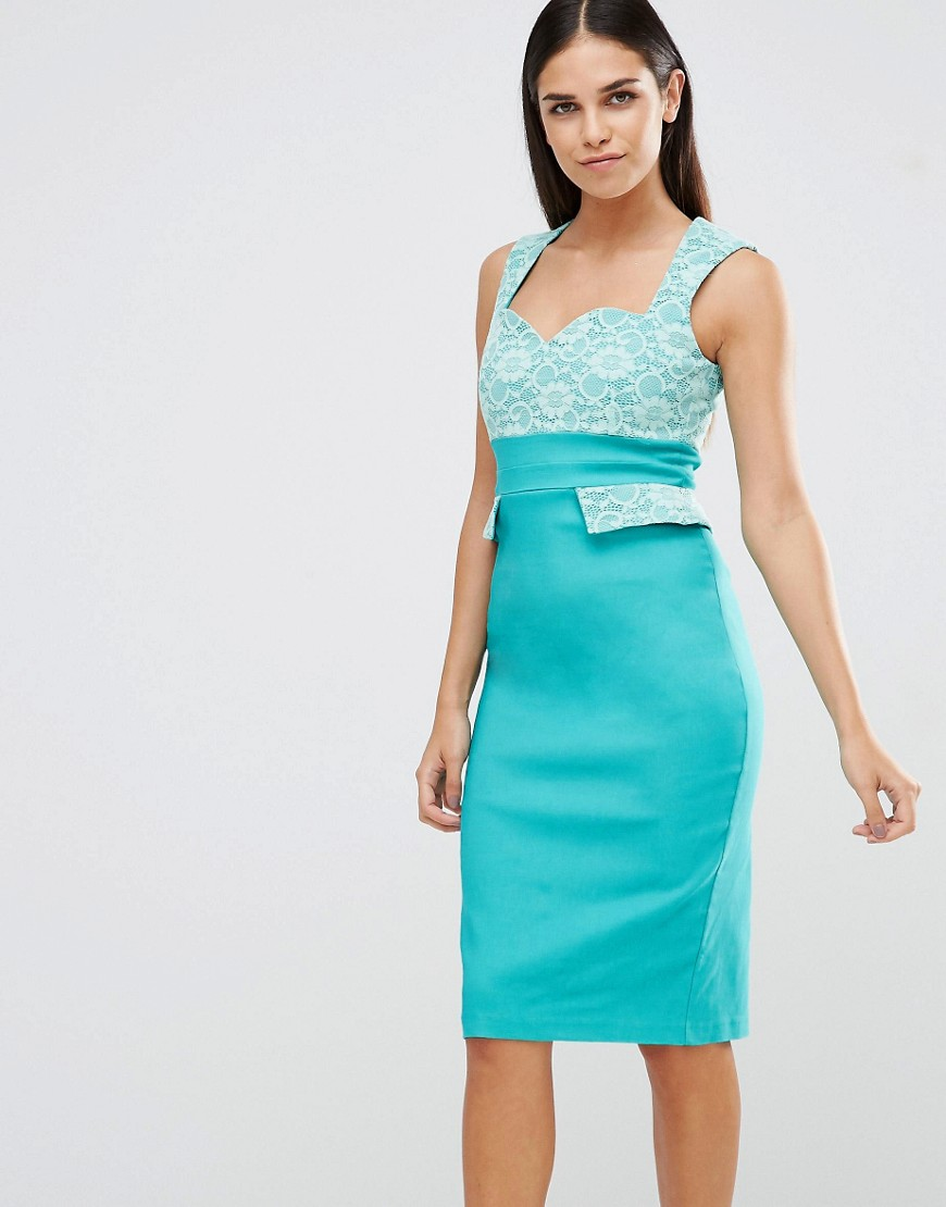 Vesper Pencil Dress With Lace Top And Pocket Detail