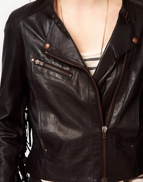 Image 3 ofUrban Code Fringe Leather Jacket