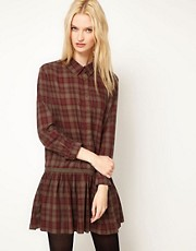 BA&amp;SH Dropped Waist Shirt Dress in Cotton Plaid