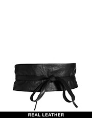 ASOS Leather Obi Belt With Tie Detail