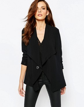 Sisley Blazer With Clasp Detail in Black
