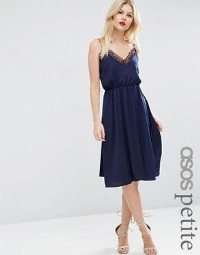 ASOS PETITE Hammered Satin Lace Trim Cami Midi Dress
