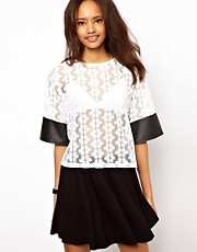 ASOS T-Shirt in Daisy Lace with PU Sleeves
