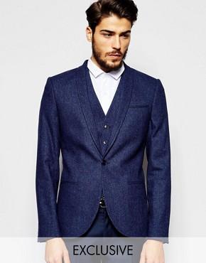 Noak Wool Blazer in Super Skinny Fit with Fleck