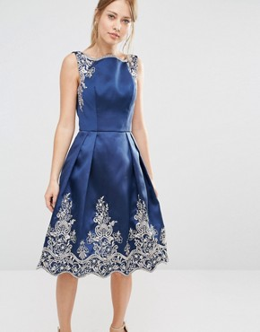 Chi Chi London Embroided Midi Dress with Premium Metallic Lace Hem