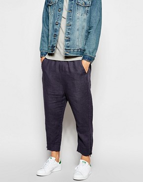 ASOS Drop Crotch Joggers In Linen Look