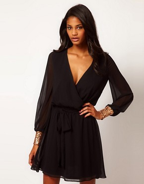 Image 1 ofASOS Wrap Dress with Sequin Cuff