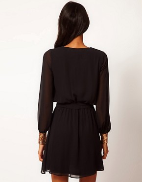 Image 2 ofASOS Wrap Dress with Sequin Cuff