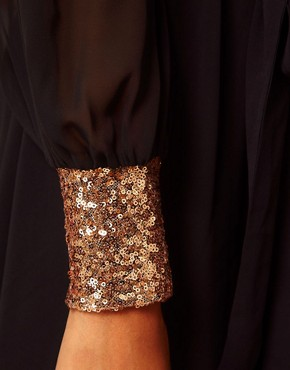 Image 3 ofASOS Wrap Dress with Sequin Cuff
