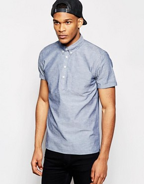 ASOS Chambray Shirt In Short Sleeve With Over The Head Detail
