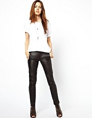 ASOS Skinny Leather Trousers with Biker Detail