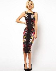 ASOS Pencil Dress With Mirror Flower Print