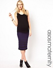 ASOS Maternity Exclusive Midi Skirt In Graduated Stripe