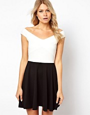 ASOS Off The Shoulder Skater In Mono