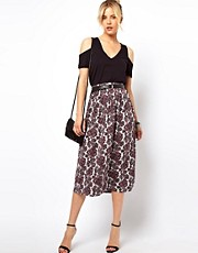ASOS Midi Skirt in Paisley Print