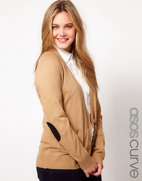 Image 1 ofASOS CURVE Elbow Patch Cardigan