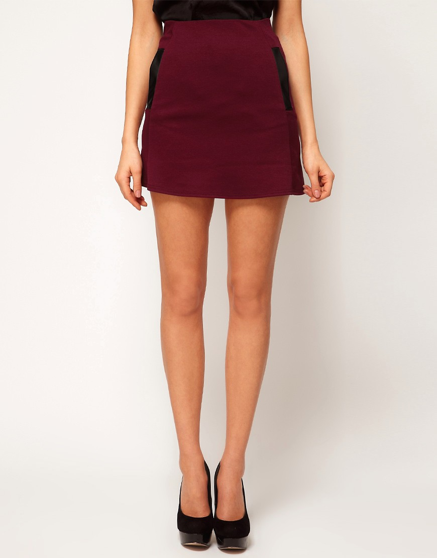 Image 4 of ASOS Mini Skirt With PU Pockets