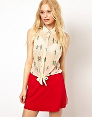 Sugarhill Boutique Tie Blouse in Hula Honey Print