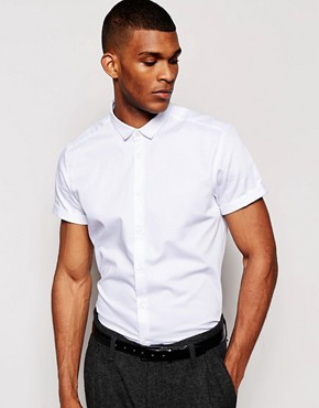 ASOS Smart Shirt In Short Sleeve With Egyptian Cotton