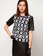 ASOS Top with Leather Sleeves and Embellished Panel