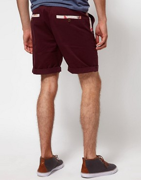 Image 2 ofASOS Chino Shorts With Feather Print Pockets