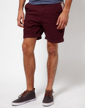 Image 1 ofASOS Chino Shorts With Feather Print Pockets