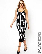 ASOS CURVE Midi Bodycon Dress In Mono Stripe Floral