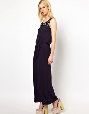 Image 1 ofOrla Kiely Sleeveless Maxi Dress with Galleon Printed Yoke