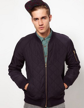 Image 1 ofASOS Bomber Jacket In Quilted Fabric