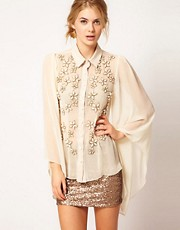 Rare Opulence Flower Embellished Drape Blouse