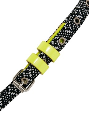 Image 3 ofASOS Monochrome Skinny With Neon Tipping Waist Belt