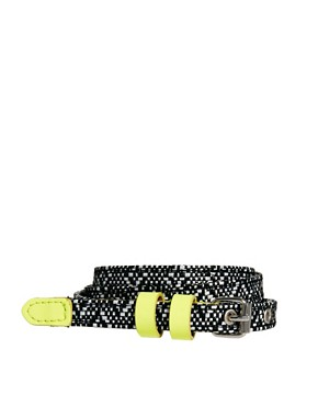Image 1 ofASOS Monochrome Skinny With Neon Tipping Waist Belt