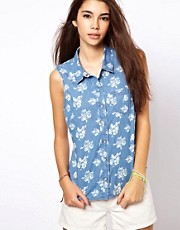Only Floral Print Chambray Shirt