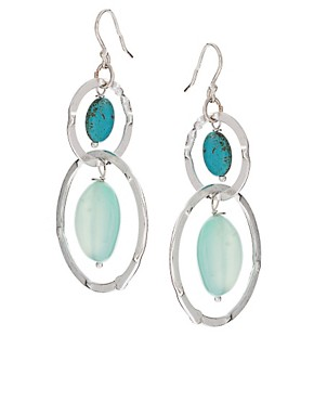 Image 1 ofAshiana Silver Plated Drop Earrings With Semi Precious Stones