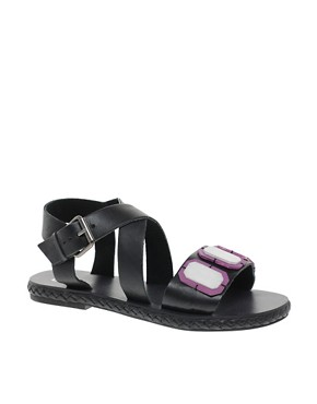 Image 1 ofASOS FELLOW Leather Flat Sandals