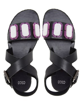 Image 2 ofASOS FELLOW Leather Flat Sandals