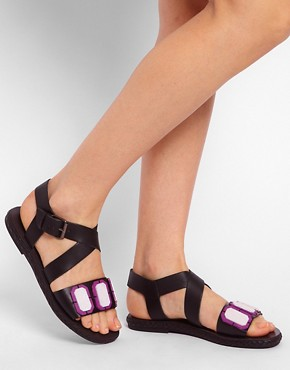 Image 3 ofASOS FELLOW Leather Flat Sandals