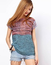 ASOS Blocked Knitted Jumper With Short Sleeves