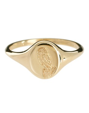 Image 2 ofLaura Lee Small Engraved Owl Signet Ring