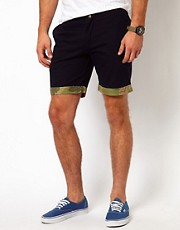 Native Youth  Marineblaue Shorts mit Tarnmusterborte
