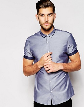 River Island Short Sleeve Shirt with Contrast Lining