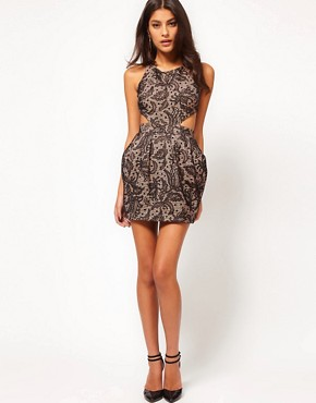 Image 4 ofASOS PETITE Exclusive Lace Dress With Cross Back Detail
