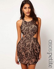 ASOS PETITE Exclusive Lace Dress With Cross Back Detail