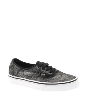 Image 1 ofVans Authentic Black Shimmer Lace Up Trainers