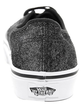 Image 2 ofVans Authentic Black Shimmer Lace Up Trainers