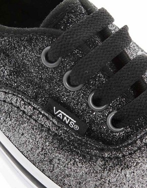 Image 3 ofVans Authentic Black Shimmer Lace Up Trainers