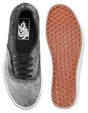 Image 4 ofVans Authentic Black Shimmer Lace Up Trainers