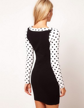 Image 2 ofASOS Bodycon Dress With Spot Sleeves