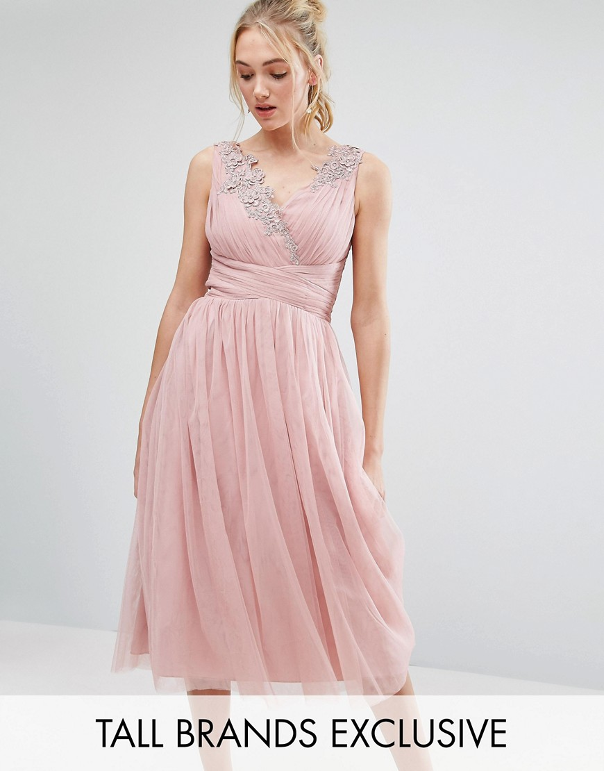 Little Mistress Tall Full Prom Tulle Midi Dress With Lace Applique - Rose